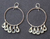 Large hoops with dangling green amethyst Sahara 75