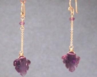 Amethyst leaves chain earrings Venus 200