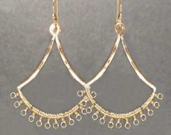 Tiny loops wrapped hammered fan earrings Kashmir 12
