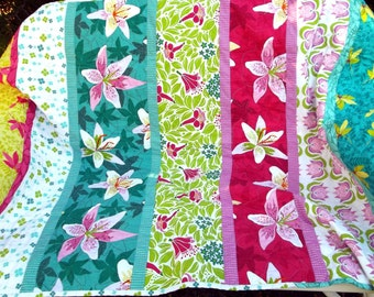 Quilt, Adult Teen or Child's Blanket - Lush Flowers