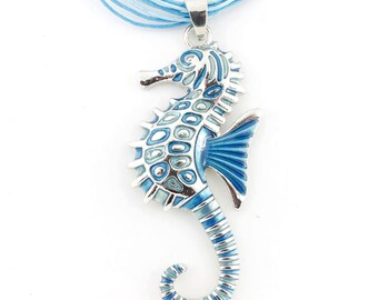 Silver-tone Simple Blue/Green Enamel Sea Horse Pendant Necklace