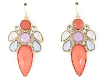 Pretty Gold-tone Pink Stone and Crystal Dangle Earrings