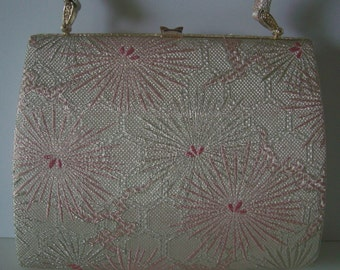 Bridal purse. pink and silver brocade handbag, 1970s vintage Japanese handbag