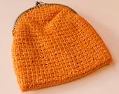 Vintage 1960s Orange Knitted Lamé Purse