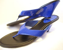 Women' Shoes  Size 11 Royal Blue Shiny Patent Sandals Summer Resort Cruise Wear