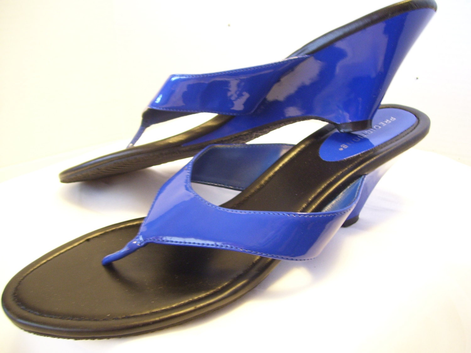 Women Shoes Size 11 Royal Blue Shiny Patent Sandals