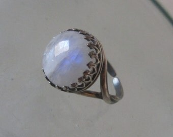 Rainbow Moonstone ring - Sterling Silver stone Ring - Adjustable ring - Natural stone ring