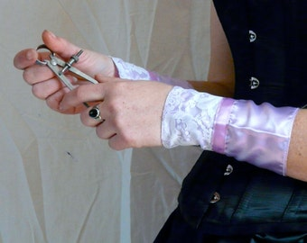 Inventor's Cuffs Victorian Steampunk - Lavender Purple and White Lace