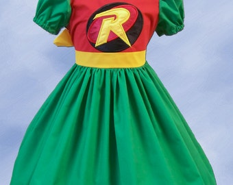 Super Hero Dress, Robin Dress, Boy Wonder Twirl Dress,  Appliques with Robin Logo. Batman Costume, Cosplay Dress, Robin Costume