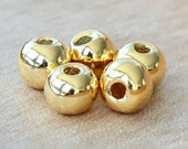 4 pcs Mykonos Ceramic Bead, 24K Gold Plated, 8mm Round Large Hole - eM8PG