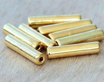 5 pcs Mykonos Ceramic Beads, 24K Gold Plated, 16mm Tube - eM3516TG