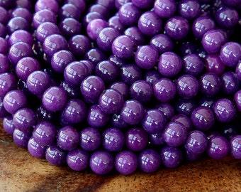 Mountain Jade Beads, Eggplant Purple, 4mm Round - 15.5 Inch Strand - eMJR-M12-4