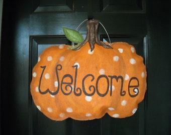 Burlap Dot Pumpkin Door Hanger