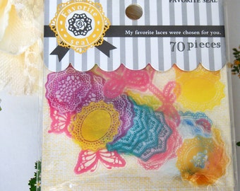 Favorite seal Scrapbook Transparent Die-cut Sticker flakes, Lace Motifs (STFL01071)