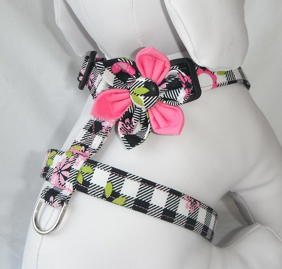 Dog Harness - Checkerboard Flower Print   - size  XS
