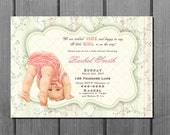 Vintage Shabby Chic Green Pink Girl Baby Shower Invitation and FREE Thank You Card Printable DIY - Baby Girl Shower Invite