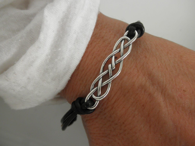 sterling silver celtic knot leather bracelet. Black Bedroom Furniture Sets. Home Design Ideas