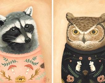 Sweatered Owl & Sweatered Raccoon Print Set