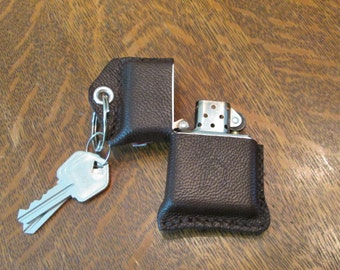 ZIPPO Lighter with Leather Key Fob Case