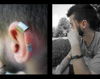 Earclamp for men, man earring, auricle earring, ear cuff, for a guy, for a man, silver earring, black earring