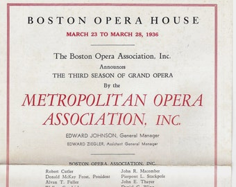 Boston Opera House, 1936 Season Advance Ticket Sales Brochure, 30's Ad