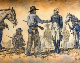 Patriotic art, Mr. President, We Need To Talk, original oil painting of a cowboy shaking hands with George Washington, patriotic art