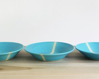 Handmade ceramic plates two aqua turquoise blue hand-thrown pottery plates appetizer dish wholesale juliapaulpottery & Homie curated by Sweet Paul Magazine on Etsy