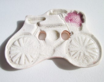 Bicycle Button - One Handmade Porcelain Button