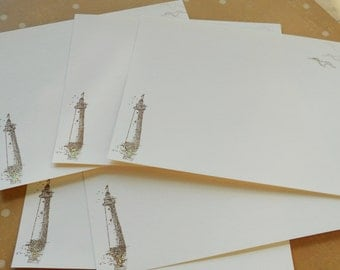 Vintage lighthouse stationery set, hand stamped note cards with seagulls and sparkle, blank with matching envelopes, set of 10.