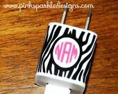 iPhone Charger Wrap Personalized - Zebra - Monogram