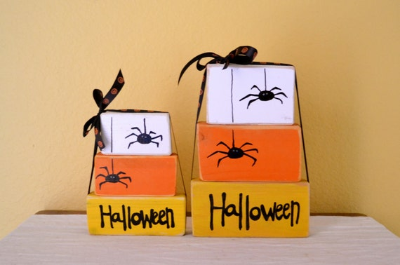 Halloween Candy Corn Photo Prop or Decoration - Set of 3 wooden block shelf sitters