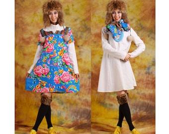 2 pieces dress print flower dress cotton linen dress