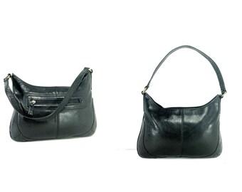 Large Leather Hobo Bag - Black Leather Shoulder Bag - Saddle Bag