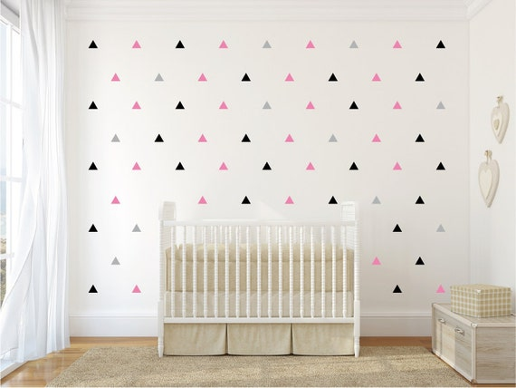 Triangles pattern wall decal 12 or 3 colors by decoryourwall - Deco mur chambre adulte ...