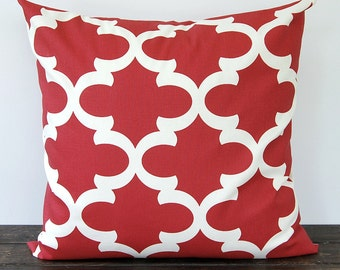 Red throw pillow cover One cushion cover red and ivory pillow sham Fynn