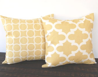 Throw pillow covers Pair of Two saffron yellow modern geometric cushion cover pillow shams