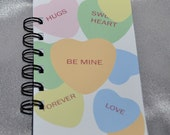 Recycled Mini Valentine's Spiral Bound Notebook-Total of 1 Notebook.