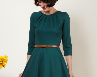 "Dress ""Elisa"", with a round skirt and little falts in darkgreen"