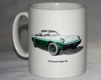 Classic Car Mug. 1972 Jensen-Healey & Bonnet Badge hand drawn illustrations.