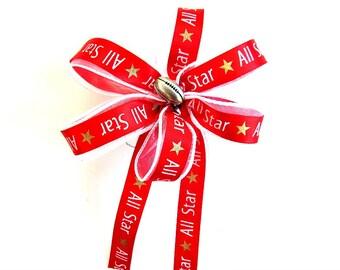 Football sports bow/ Football ALL STAR gift bow/ Small sport bow/ Football party decoration/ Gift for a football player/ Handmade bow (FN62)