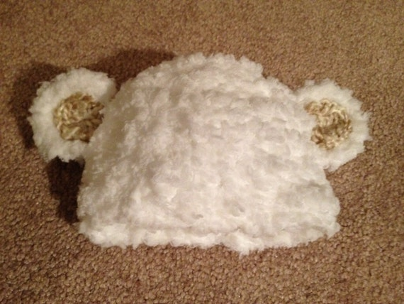 Baby Lamb fluffy white Pink or tan Ears Crochet Hat Newborn