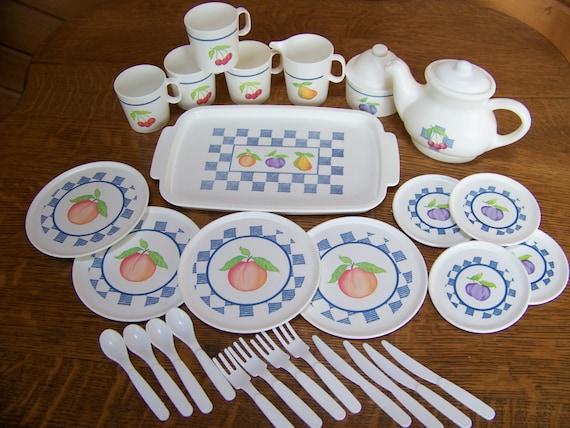 Vintage Childrens Plastic Tea Set By Chilton