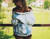Vintage Denim Jacket Acid washed Jeans White Blue Oversize 90s Grunge Rock n Roll Hipster