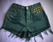 Levi's Denim HIgh Waisted Shorts Vintage Studded Destroyed Jeans