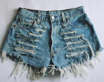 High waisted Denim Shorts Destroyed Ripped Front Jeans Vintage Cut Off Levi's Wrangler Lee Classic Brands MADE TO ORDER
