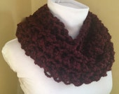 Chunky Knitted Scarf // Infinity Cowl // Claret // PARADISE COWL