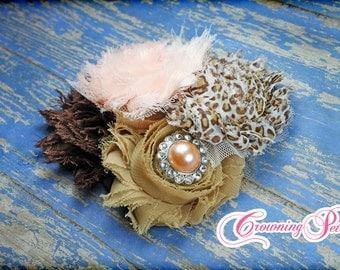 Peach, Leopard Headband, Brown, Tan, Blush, Baby Girl Hair Bow, Shabby Chiffon, Leopard Print Hair Clip, Fabric Flower Hair Clip, Hair Piece