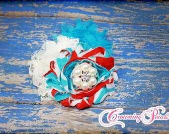 Red, Turquoise Hair Clip, Shabby Chiffon Hairbow, White, Blue Headband, Baby Photo Prop, Fabric Flower Hair Clip, Shabby Trim Hair Piece