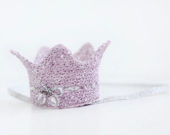 Baby girl lilac and silver Crown. Silver elastic headband for baby girl