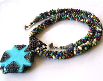 Multicolor kumihimo woven necklace - Turquoise cross pendant necklace